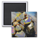 Abstract Rock Art : Gold : Wood : Dramatic Refrigerator Magnet