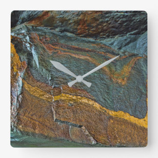 Abstract rock art square wall clock