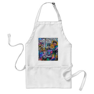 Abstract rock band adult apron