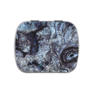 abstract rock pattern blue swirl design jelly belly candy tins