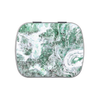abstract rock pattern green swirls jelly belly candy tin