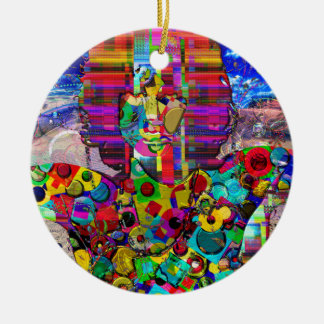 Abstract Rock Star Portrait Double-Sided Ceramic Round Christmas Ornament