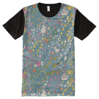 Abstract romantic pattern with cartoon All-Over print t-shirt