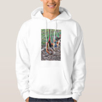 Abstract Rooster and hens in the chicken pen Hoodie