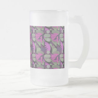 Abstract Rooster Cockscomb Fuschia & Sage Green Frosted Glass Beer Mug