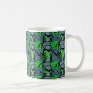 Abstract Rooster Cockscomb Green & Slate Blue Coffee Mug