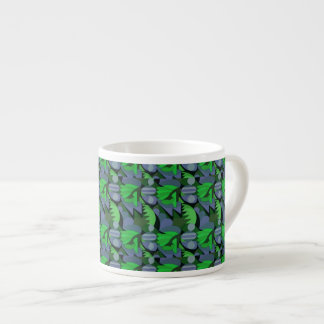 Abstract Rooster Cockscomb Green & Slate Blue Espresso Cup