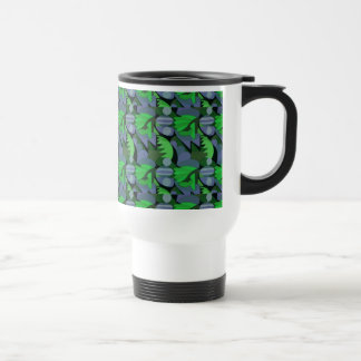 Abstract Rooster Cockscomb Green & Slate Blue Travel Mug