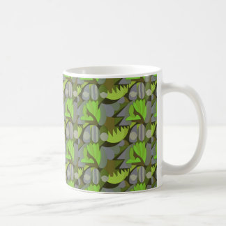 Abstract Rooster Cockscomb Lime Green & Lavender Coffee Mug
