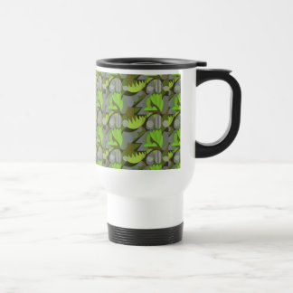 Abstract Rooster Cockscomb Lime Green & Lavender Travel Mug