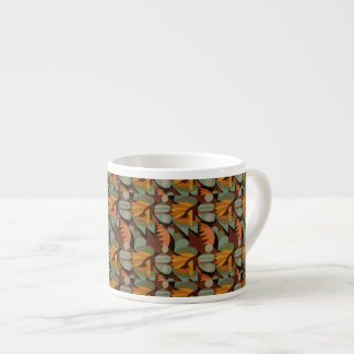 Abstract Rooster Cockscomb Orange & Sage Green Espresso Cup