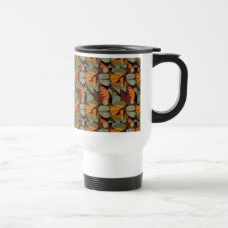 Abstract Rooster Cockscomb Orange & Sage Green Travel Mug
