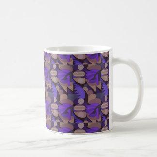 Abstract  Rooster Cockscomb Purple & Taupe Coffee Mug