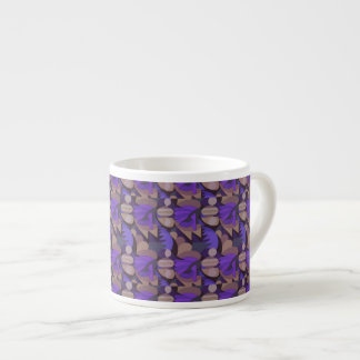 Abstract  Rooster Cockscomb Purple & Taupe Espresso Cup