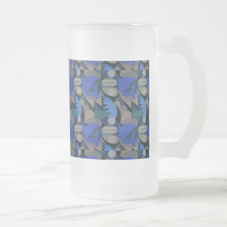 Abstract Rooster Cockscomb Royal Blue & Brown Frosted Glass Beer Mug