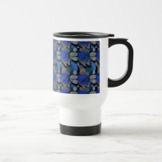 Abstract Rooster Cockscomb Royal Blue & Brown Travel Mug