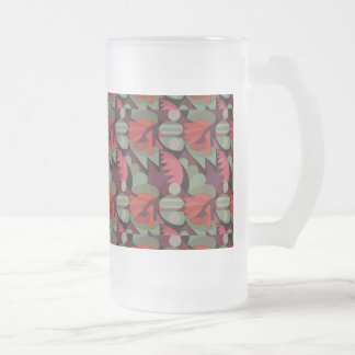 Abstract Rooster Cockscomb Sage Green & Red Frosted Glass Beer Mug