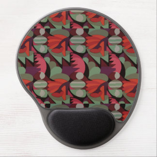 Abstract Rooster Cockscomb Sage Green & Red Gel Mousepads