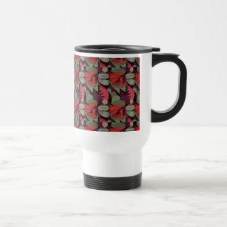 Abstract Rooster Cockscomb Sage Green & Red Travel Mug