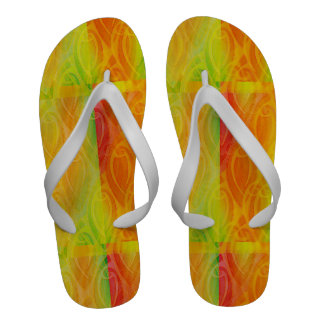abstract rose buds in tropical colors Flip-Flops