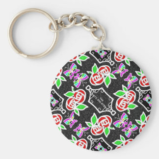 Abstract Rose Butterfly pattern Personalizable Basic Round Button Keychain