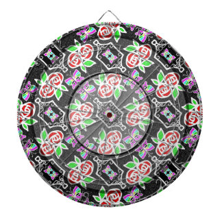 Abstract Rose Butterfly pattern Personalizable Dartboard With Darts