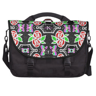 Abstract Rose Butterfly pattern personalizable Laptop Bag