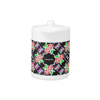 Abstract Rose Butterfly pattern personalizable Teapot