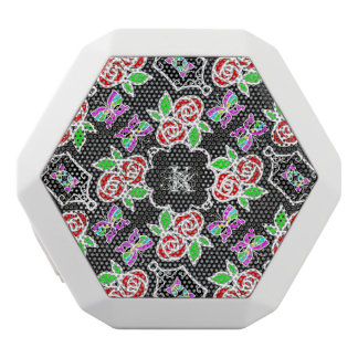 Abstract Rose Butterfly pattern personalizable White Bluetooth Speaker