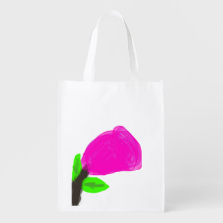 Abstract Rose Flower Grocery Bags