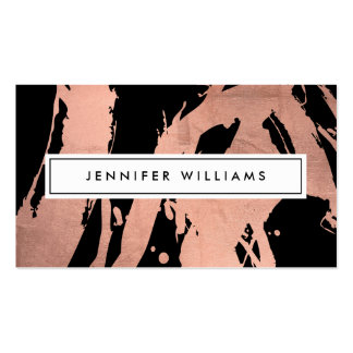 Abstract Rose Gold Brushstrokes on Black II Business Card