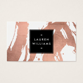 Abstract Rose Gold Brushstrokes on White Business Card