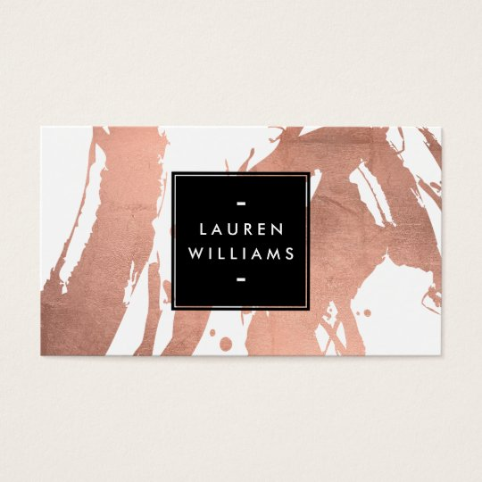 Business cards business card printing zazzle abstract rose gold brushstrokes on white business card reheart Images