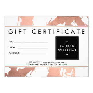 Abstract Rose Gold Brushstrokes on White Gift Card