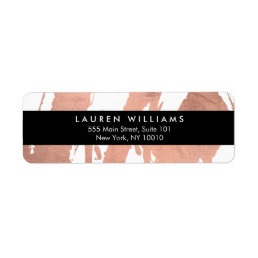 Abstract Rose Gold Brushstrokes on White Label