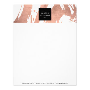Abstract Rose Gold Brushstrokes On White Letterhead at Zazzle