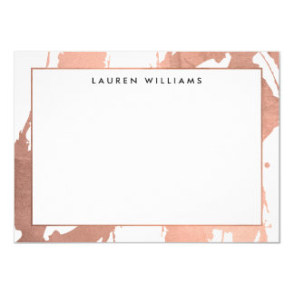 Abstract Rose Gold Brushstrokes on White Note Card