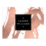 Abstract Rose Gold Brushstrokes on White Postcard