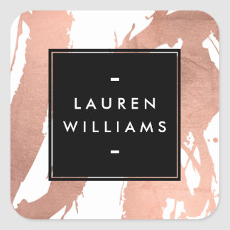 Abstract Rose Gold Brushstrokes on White Square Sticker