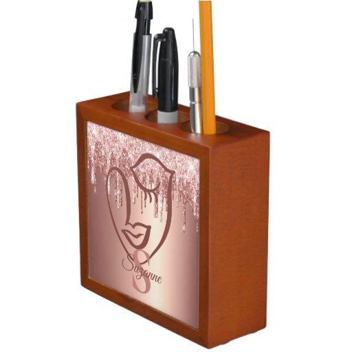 Abstract Rose Gold Glitter Drips  Face Monogram  Desk Organizer
