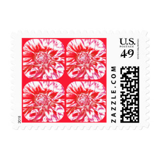 Abstract Rose Red Dahlia Flower Collage Postage