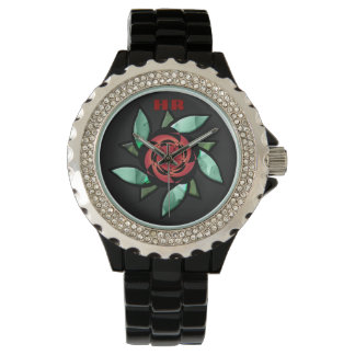 Abstract Rose - Red on Black (Monogrammed) Wrist Watch