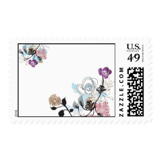 Abstract roses and poppies Postage
