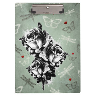 Abstract Roses, Butterflies and Dragonflies Clipboard