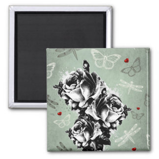 Abstract Roses Butterflies and Dragonflies Fridge Magnets