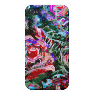Abstract roses in red and turqoise cover for iPhone 4