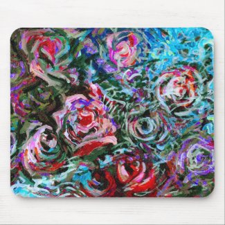 Abstract roses in red and turqoise - mousepad mousepad