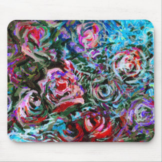 Abstract roses in red and turqoise - mousepad