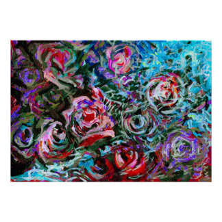 Abstract roses in red and turqoise - print
