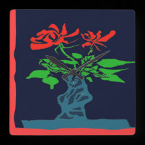 Abstract Roses in Vase Clock Face wall clocks